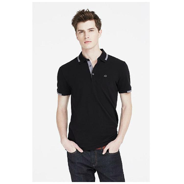 美國百分百【Armani Exchange】polo衫 AX 短袖 上衣 素面 網眼 滾邊 黑色 S M號 男 F651