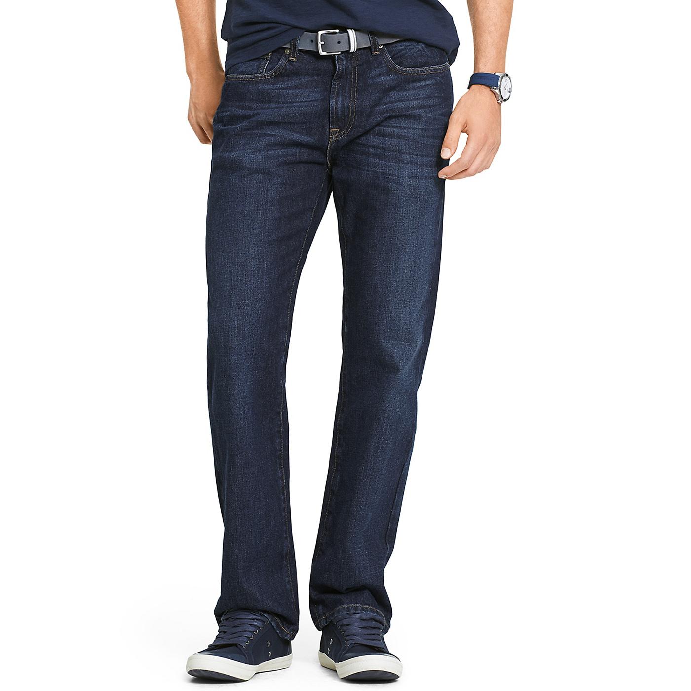 美國百分百【全新真品】Tommy Hilfiger 牛仔褲 TH 休閒褲 長褲 單寧 合身 深藍 抓紋 刷色 30腰 F656