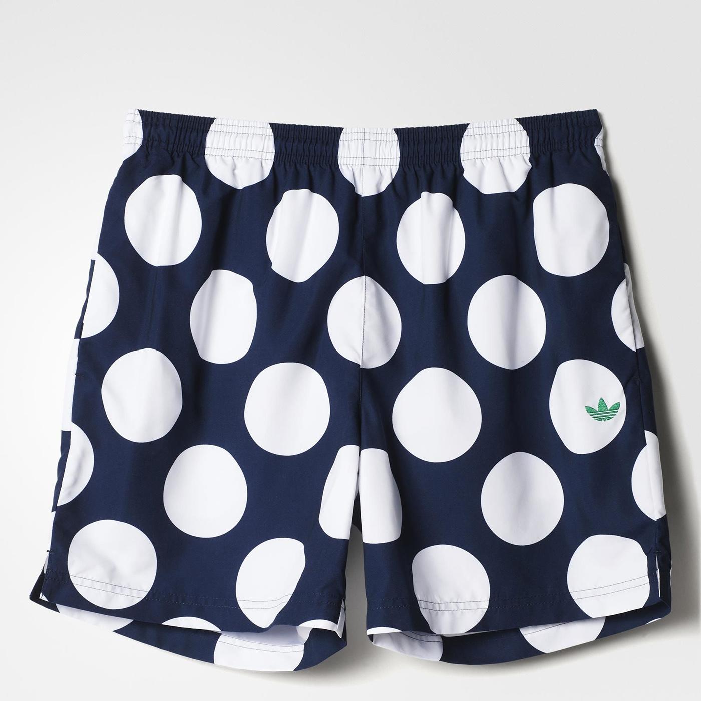 美國百分百【全新真品】adidas 短褲 愛迪達 休閒褲 運動褲 潮流 街頭 普普風 點點 深藍 白 M號 F661