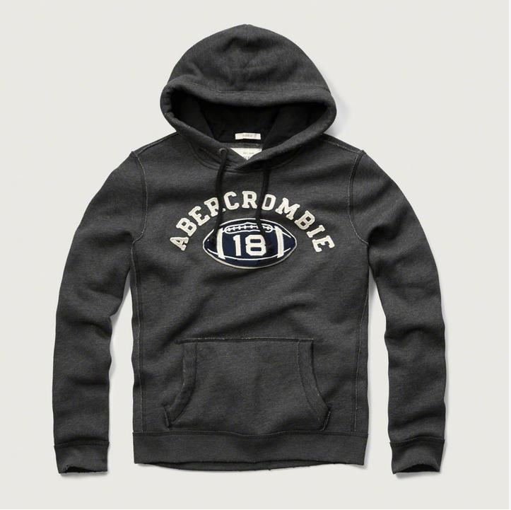 美國百分百【Abercrombie & Fitch】帽T AF 連帽 長袖 上衣 橄欖球 麋鹿 鐵灰 特價 S M號 F671