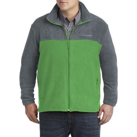 美國百分百【全新真品】Columbia 外套 夾克 立領 哥倫比亞 Fleece 灰色 綠色 刷毛 保暖 S號 F757