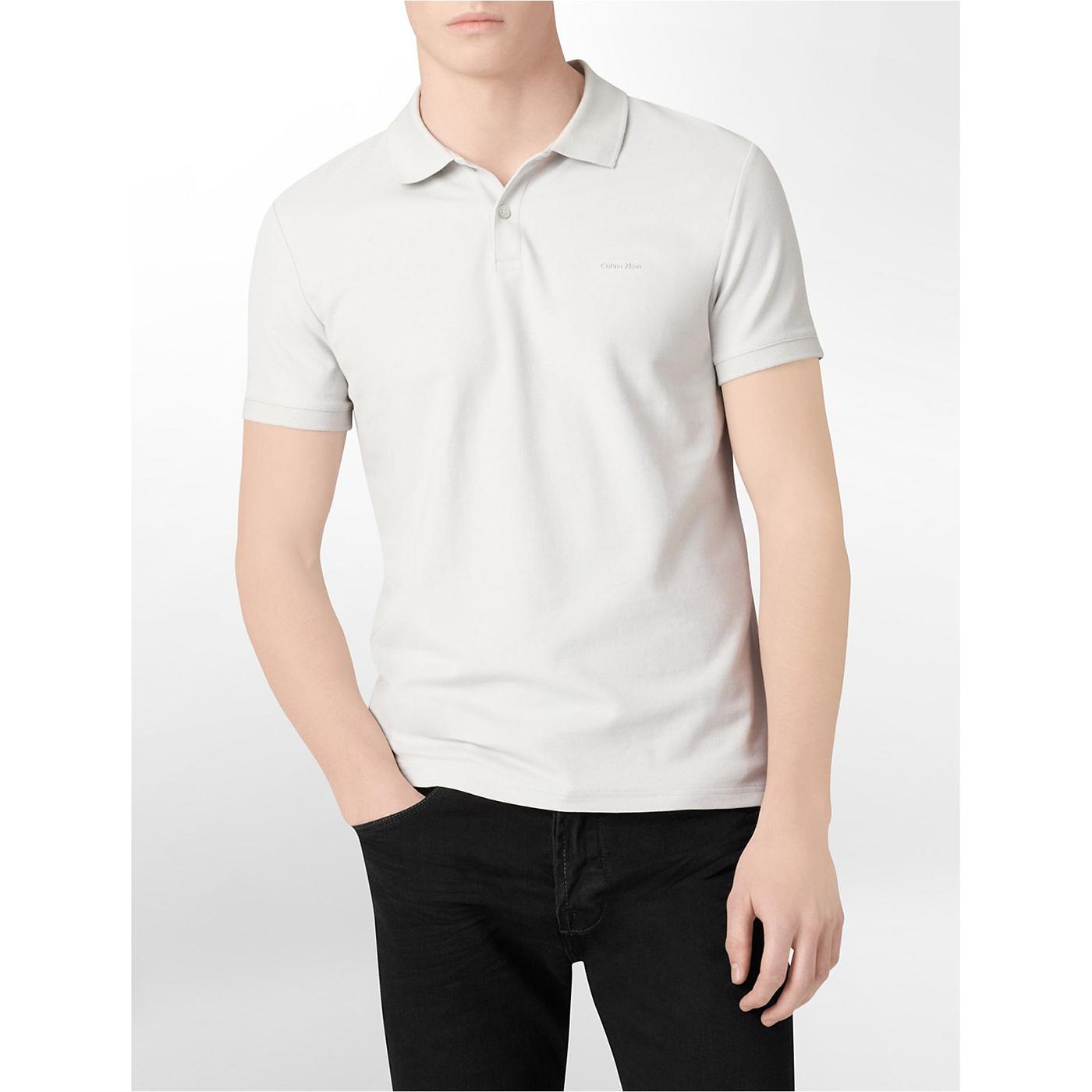 美國百分百【Calvin Klein】Polo衫 CK 短袖 上衣 素面 網眼 棉 logo 灰白 XXS號 A942