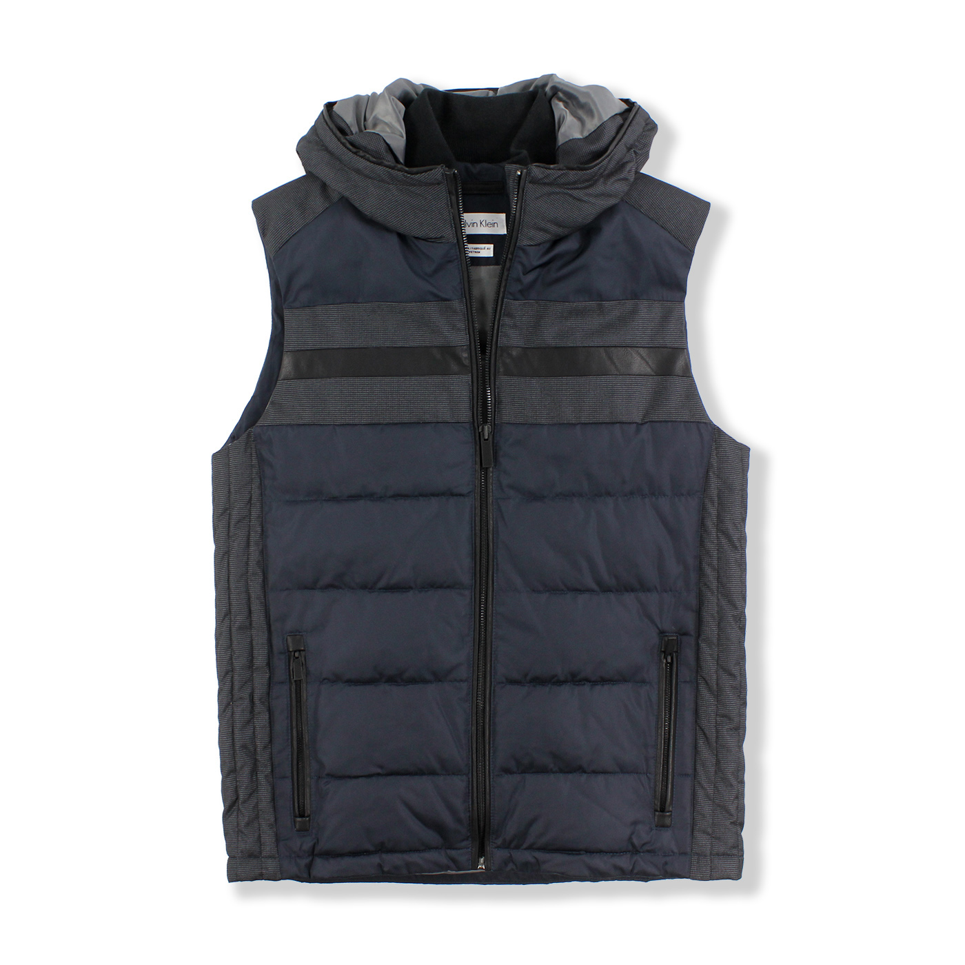 美國百分百【全新真品】Calvin Klein 背心 外套 CK 無袖 保暖 連帽 深藍 黑色 S M號 F782
