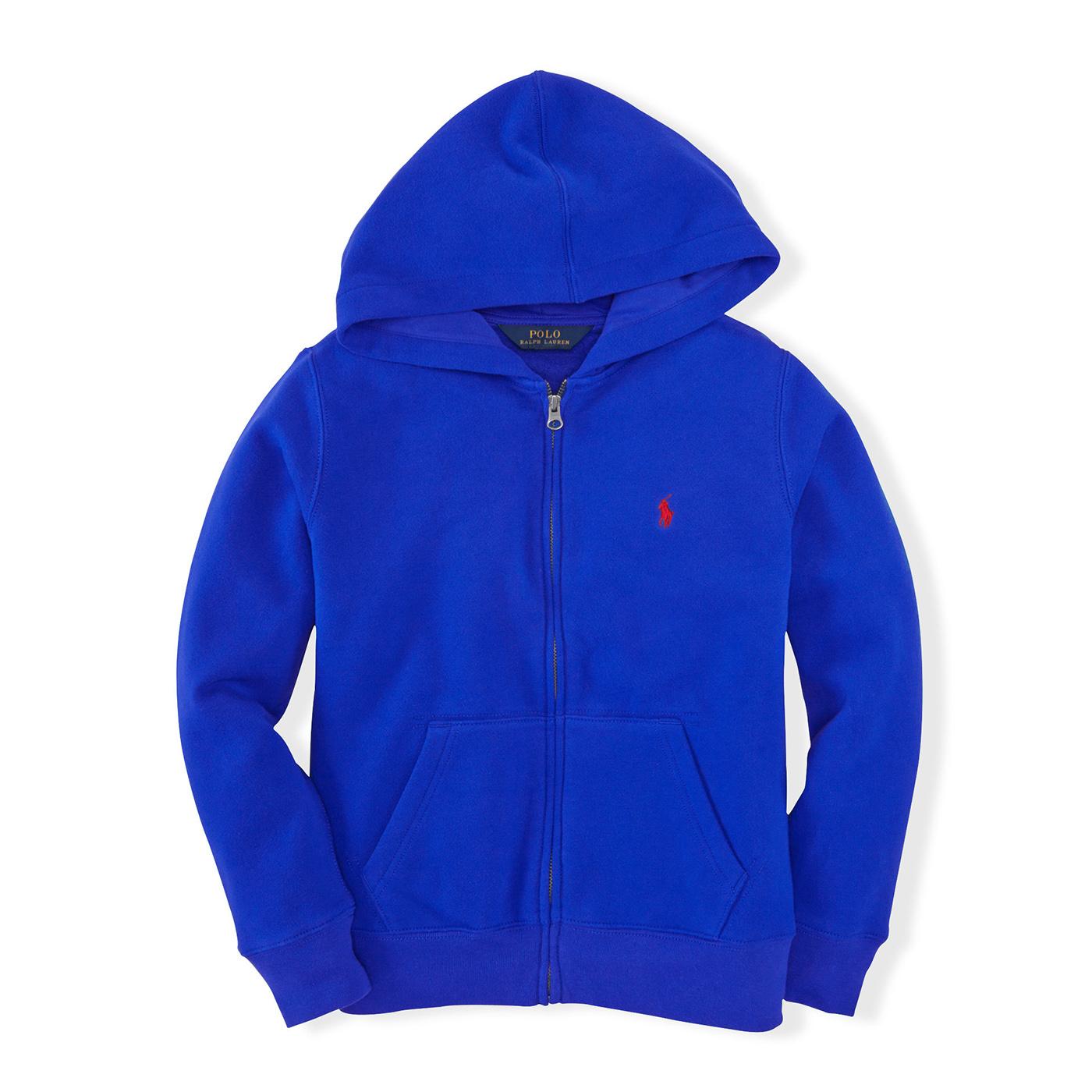 美國百分百【全新真品】Ralph Lauren RL 連帽 薄外套 棉 帽T 夾克 寶藍 POLO XS S號 B038