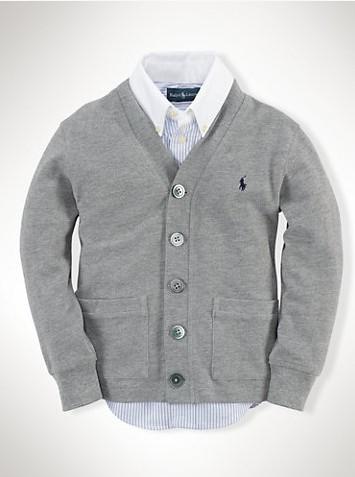 美國百分百【Ralph Lauren】針織衫 RL 男款 開釦 罩衫 網眼 POLO 淺灰 外套 S號 B572