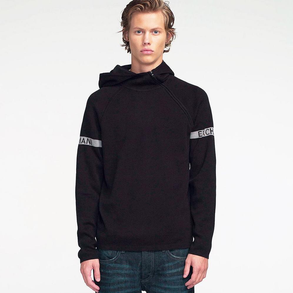 美國百分百【Armani Exchange】針織 外套 AX 連帽 棉質 針織衫 拉鏈 亞曼尼 黑色 XS號 F891