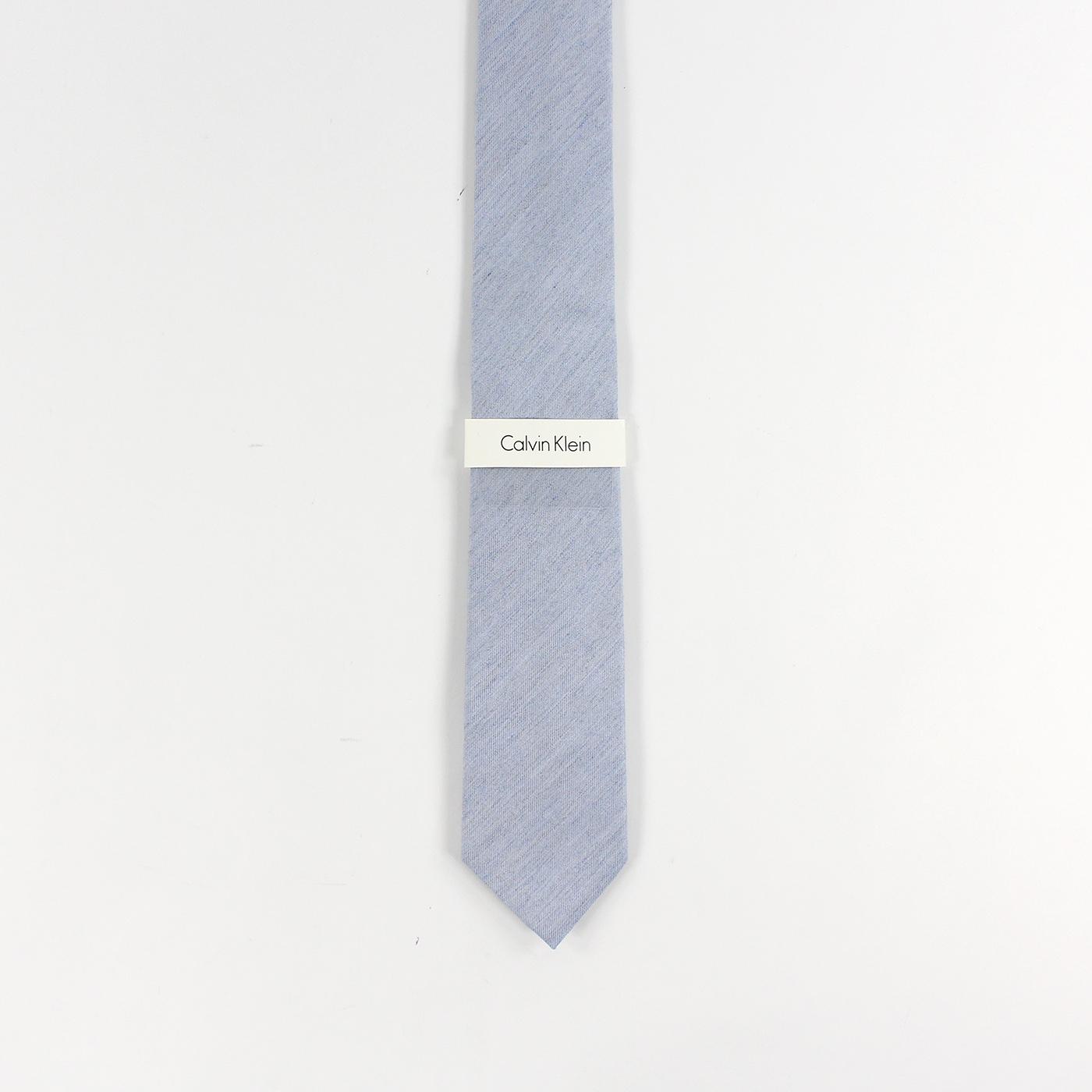美國百分百【全新真品】Calvin Klein 領帶 CK 配件 窄版 Slim 時尚 型男 素面 淺藍色 F901