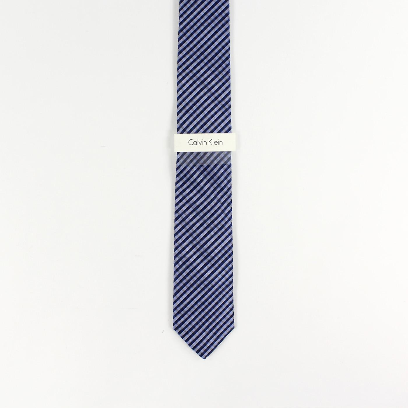 美國百分百【全新真品】Calvin Klein 領帶 CK 配件 窄版 Slim 時尚 型男 斜條紋 深藍色 F902