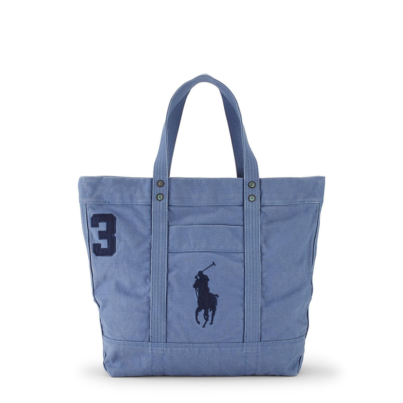 美國百分百【Ralph Lauren】包包 RL 托特包 手提包 帆布 Polo 大馬 拉鍊 Logo 藍灰 F943