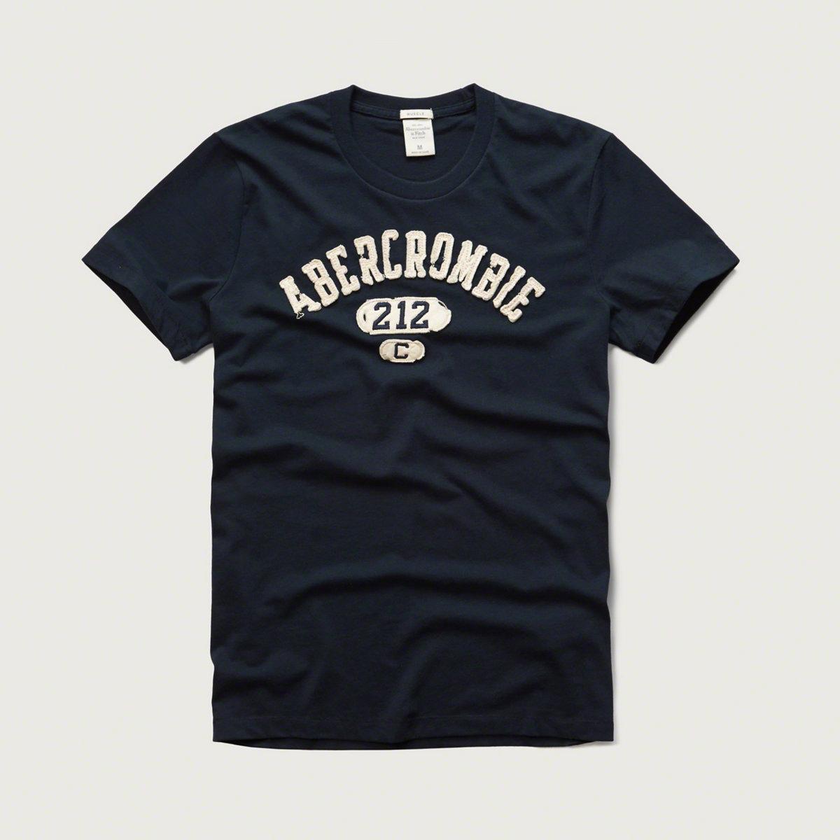 美國百分百【Abercrombie & Fitch】T恤 AF 短袖 T-shirt 麋鹿 貼布 深藍 S XL號 G057