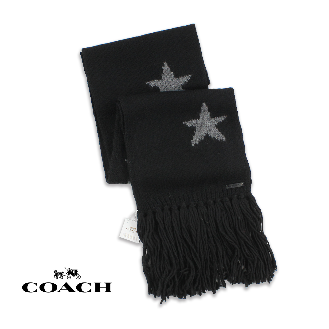 美國百分百【全新真品】COACH 圍巾 針織 配件 披肩 毛線 86021 保暖 羊毛 星星 男 女 黑色 G198