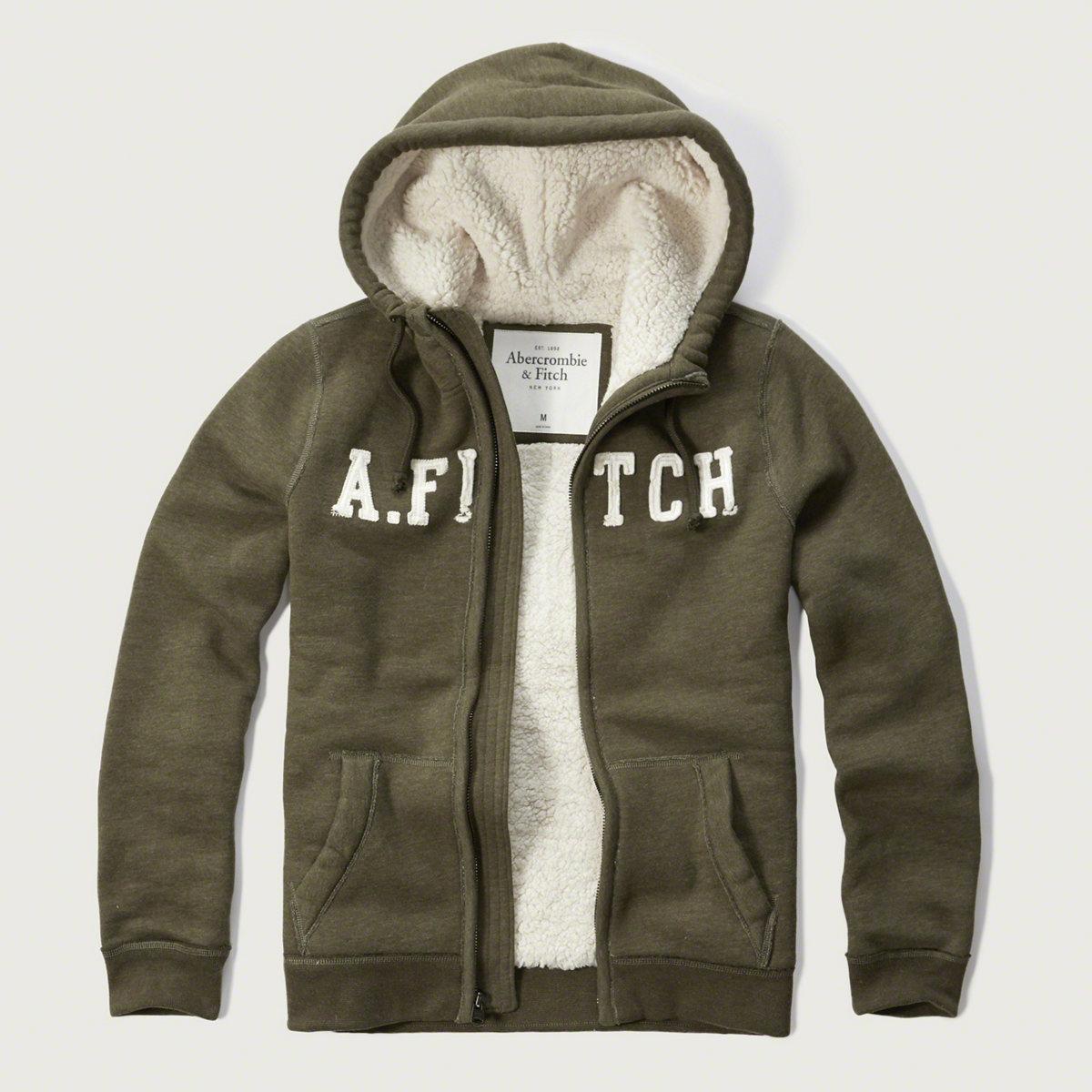 美國百分百【全新真品】Abercrombie & Fitch 外套 AF 連帽 夾克 麋鹿 刷厚毛 橄欖綠 XS、M、L、XL號 G209