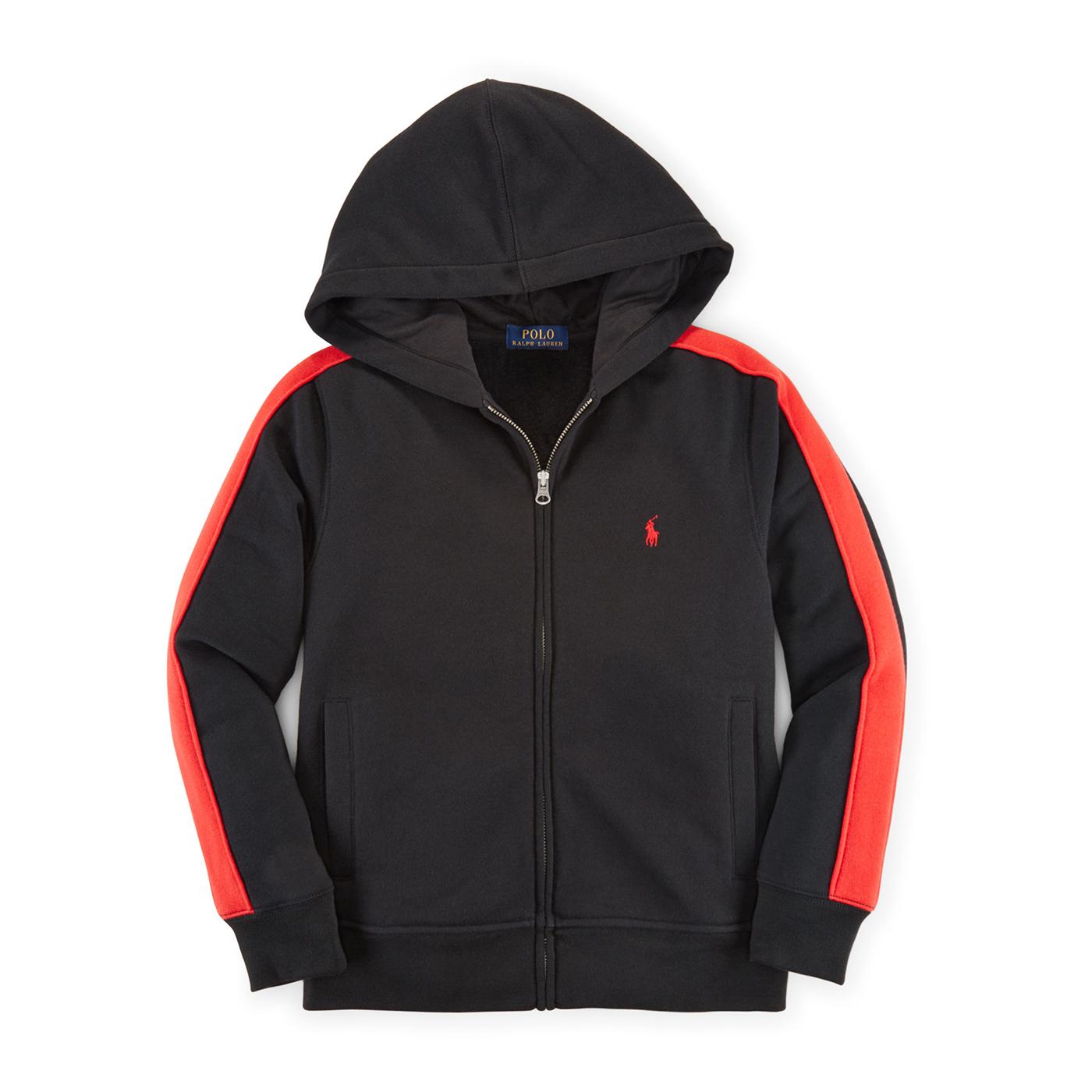 美國百分百【Ralph Lauren】RL polo 棉質 連帽 外套 夾克 小馬 紅邊 黑色 XS S號 G305