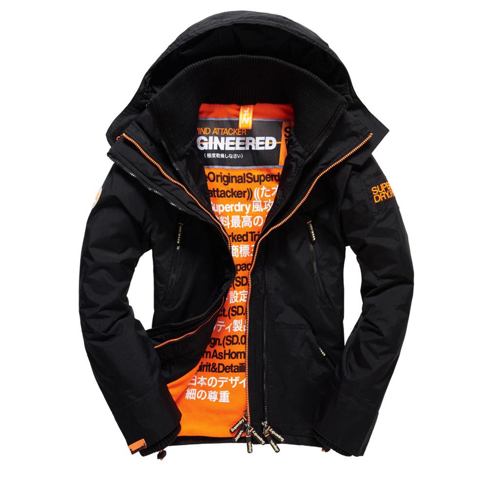 美國百分百【Superdry】極度乾燥 Attacker 風衣 連帽 外套 防風 夾克 刷毛 黑色 橘色 XS S M L號 F966