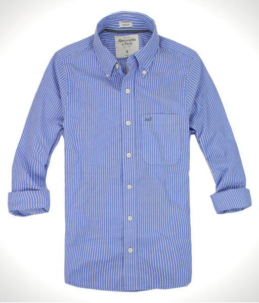 美國百分百【全新真品】Abercrombie&Fitch A&F麋鹿 藍白線 直線條紋 長袖襯衫 型男 休閒 免運 S號