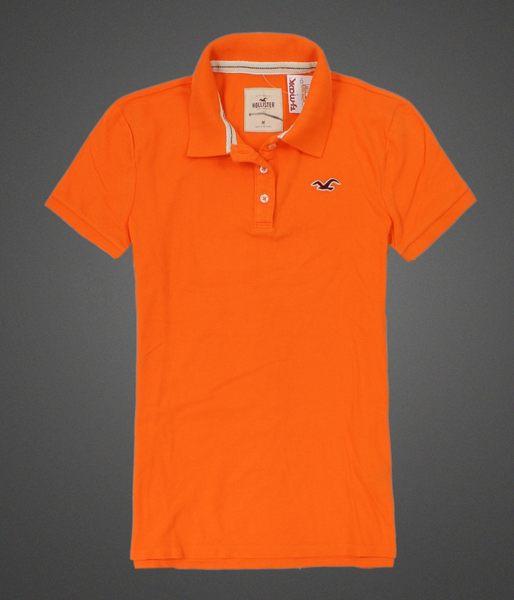 美國百分百【全新真品】Hollister Co Polo衫 HCO 女衣 短袖 橘色 網眼 海鷗 Logo 透氣衫 上衣 M號