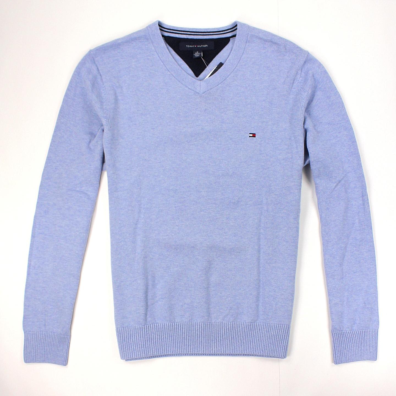 美國百分百【全新真品】Tommy Hilfiger 針織衫 TH 線衫 V領 素面 純棉 毛衣 男衣 淺藍 S L XL號 B606
