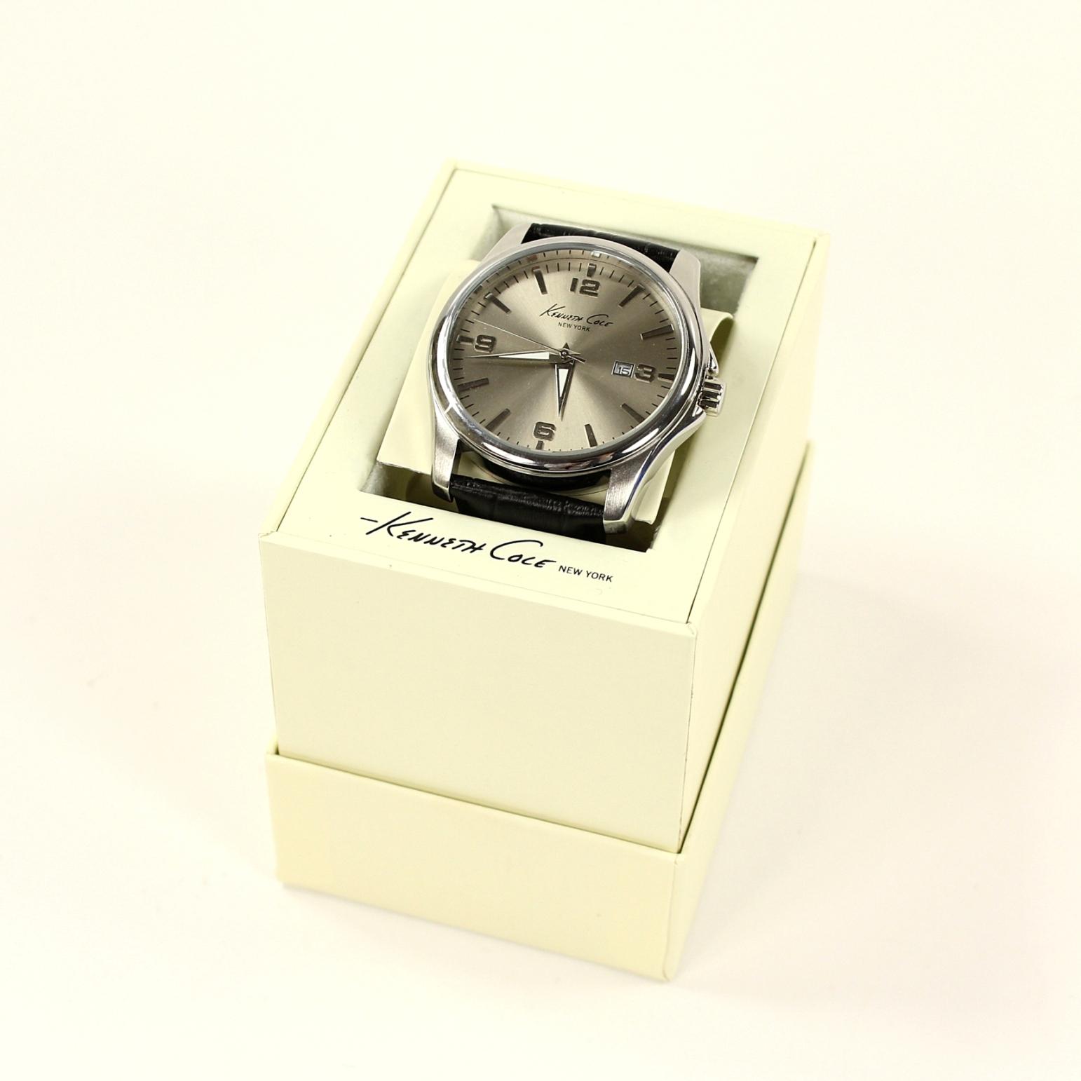 美國百分百【全新真品】Kenneth Cole 手錶 KC 配件 石英錶 真皮錶帶 銀 夜光 對錶 黑 男 女 1865