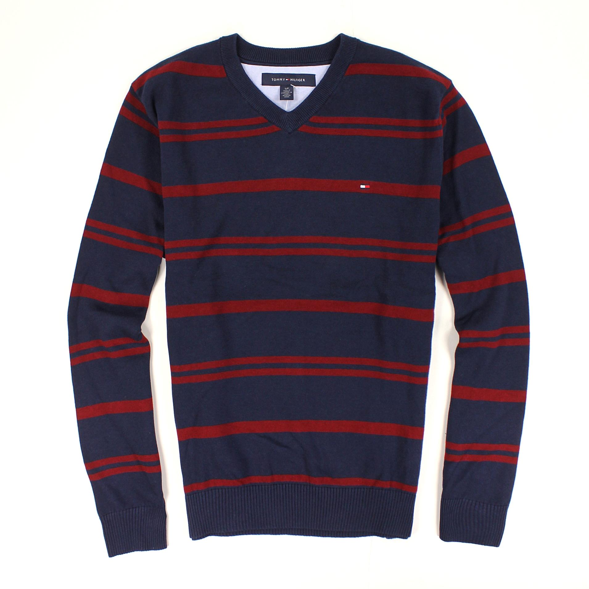 美國百分百【全新真品】Tommy Hilfiger 針織衫 TH 線衫 棉質毛衣 藍 條紋 V領 厚 超取 男 S B612