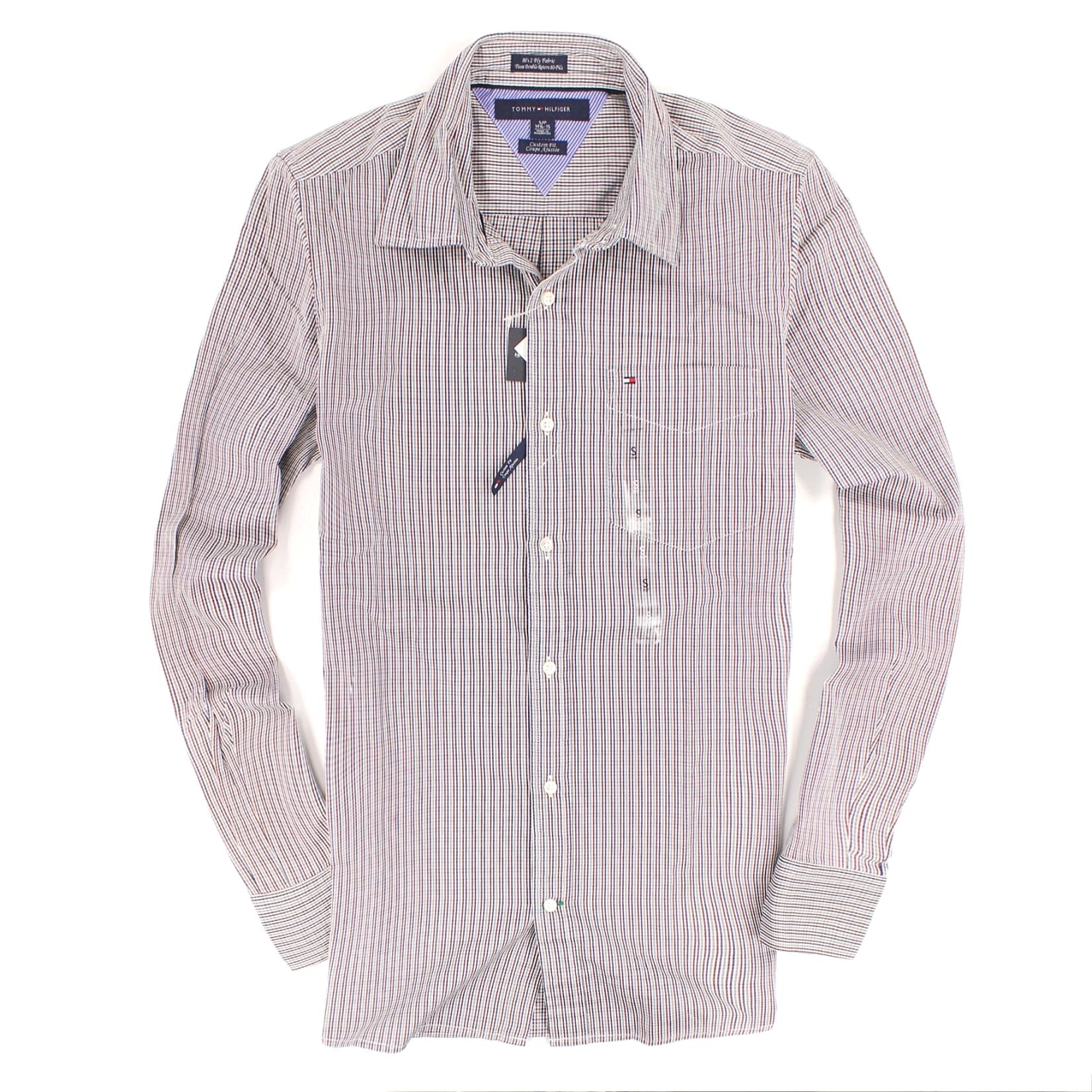 美國百分百【全新真品】Tommy Hilfiger 襯衫 TH 長袖 上衣 咖啡 格紋 純棉 口袋 休閒 男衣 XS號