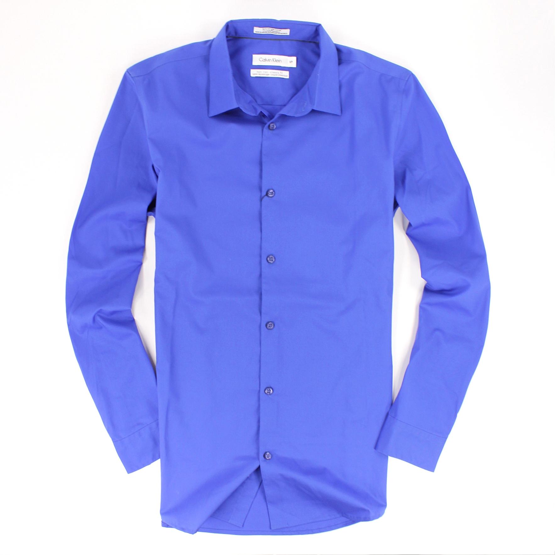美國百分百【全新真品】Calvin Klein 襯衫 CK 上衣 長袖 寶藍 素面 上班 休閒 萊卡 經典 男 S M號