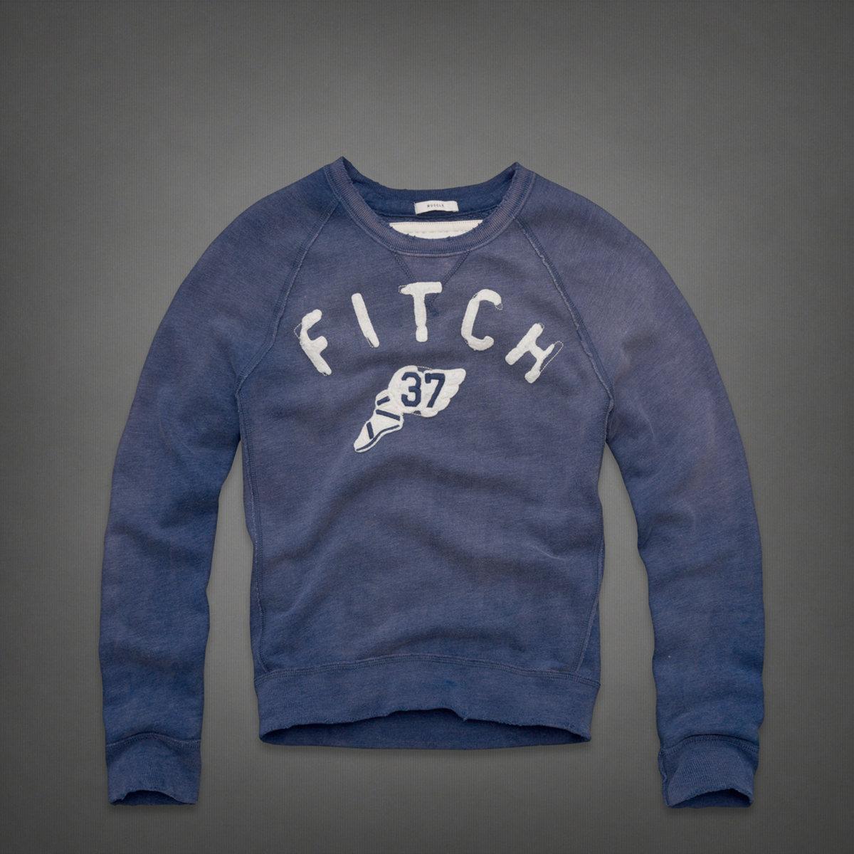 美國百分百【全新真品】Abercrombie & Fitch T恤 AF 長袖 T-shirt 上衣 麋鹿 復古藍 素面 厚棉 男衣 S M號