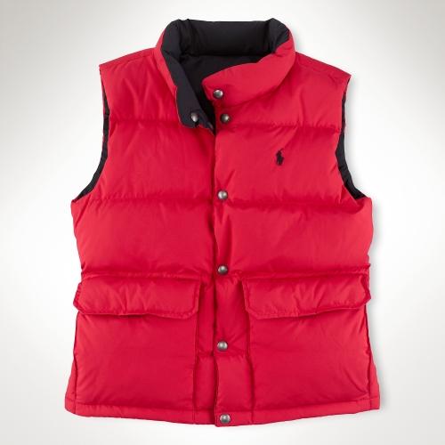 美國百分百【全新真品】Ralph Lauren 背心 RL 上衣 羽絨 Polo 小馬 紅 黑 雙面 雙口袋 銅釦 男 S號 C097