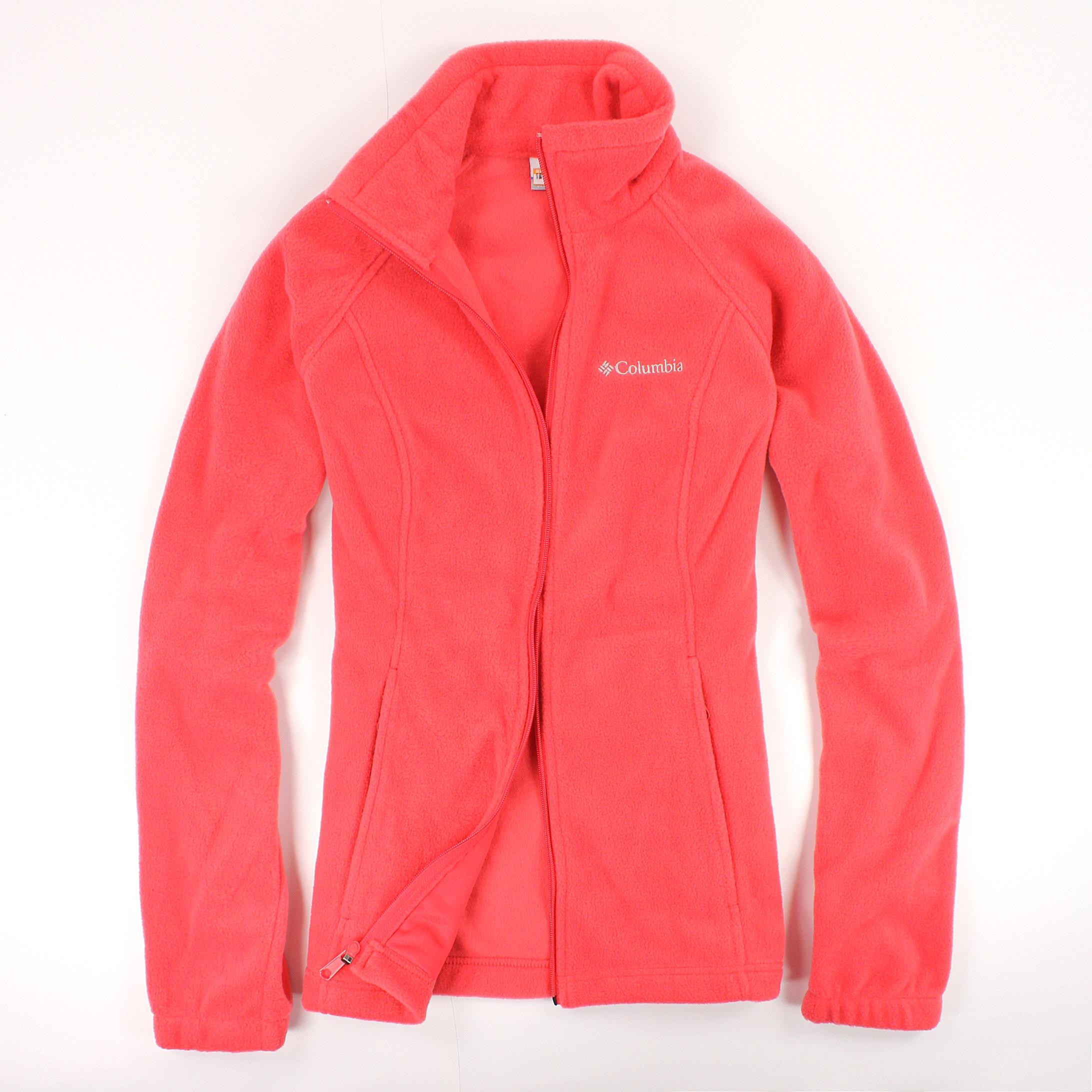 美國百分百【全新真品】Columbia 外套 夾克 刷毛外套 哥倫比亞 鮭魚紅 立領 保暖 女衣 S M號 B534