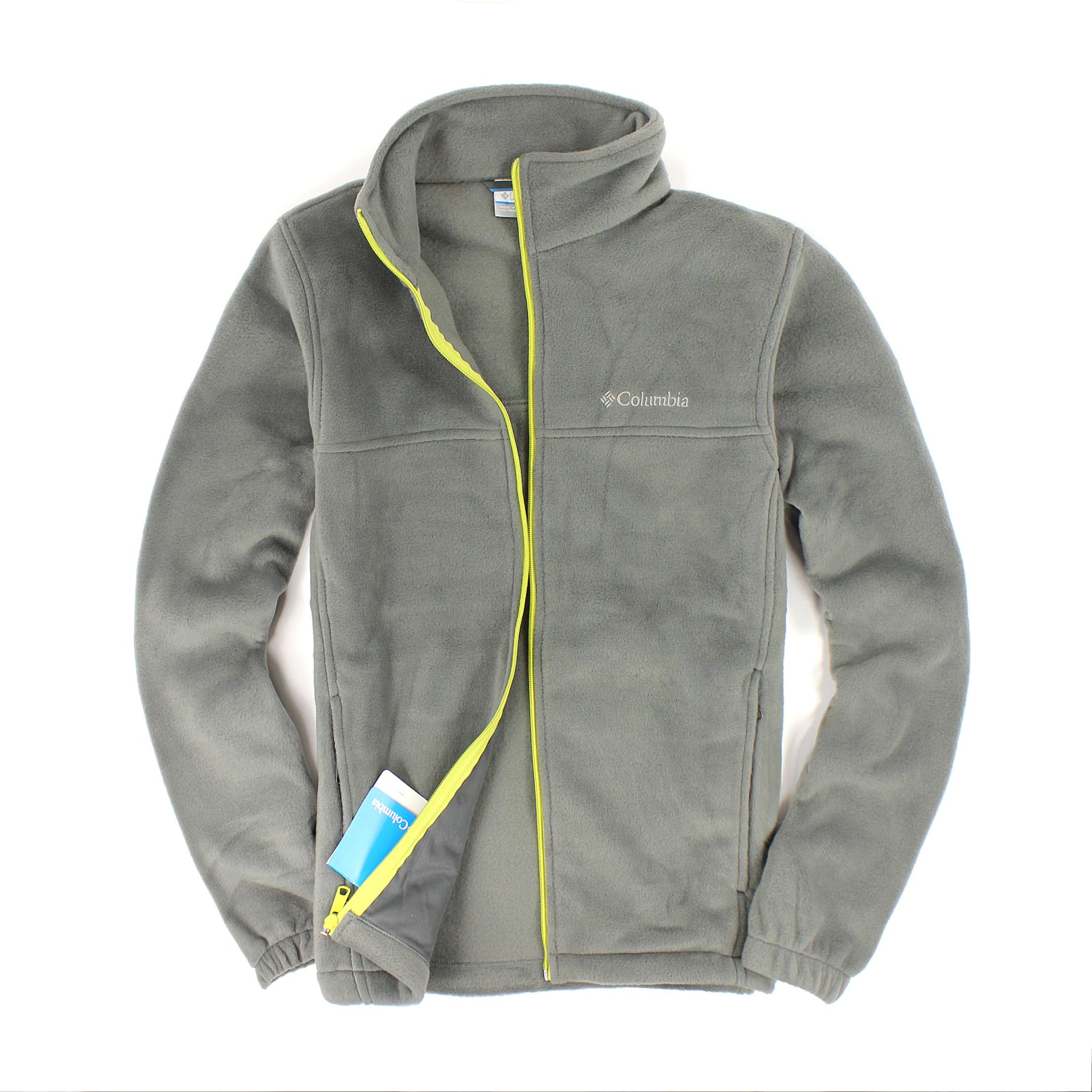 美國百分百【全新真品】Columbia 外套 上衣 夾克 刷毛 哥倫比亞 灰 保暖 立領 棉質 輕巧 男 S號