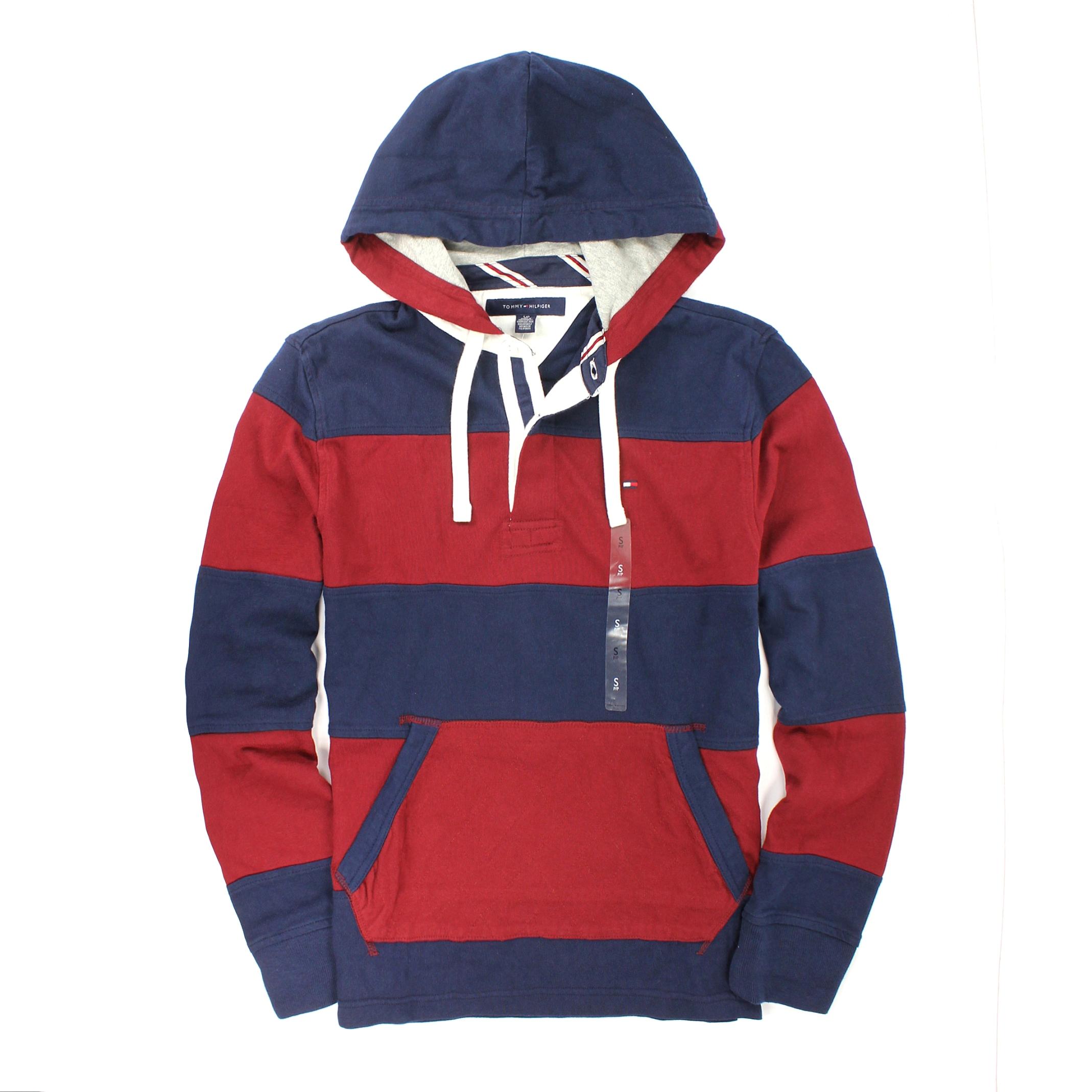 美國百分百【全新真品】Tommy Hilfiger 帽T TH 連帽 T恤 長袖 T-shirt 外套 藍紅 條紋 純棉 男 S號
