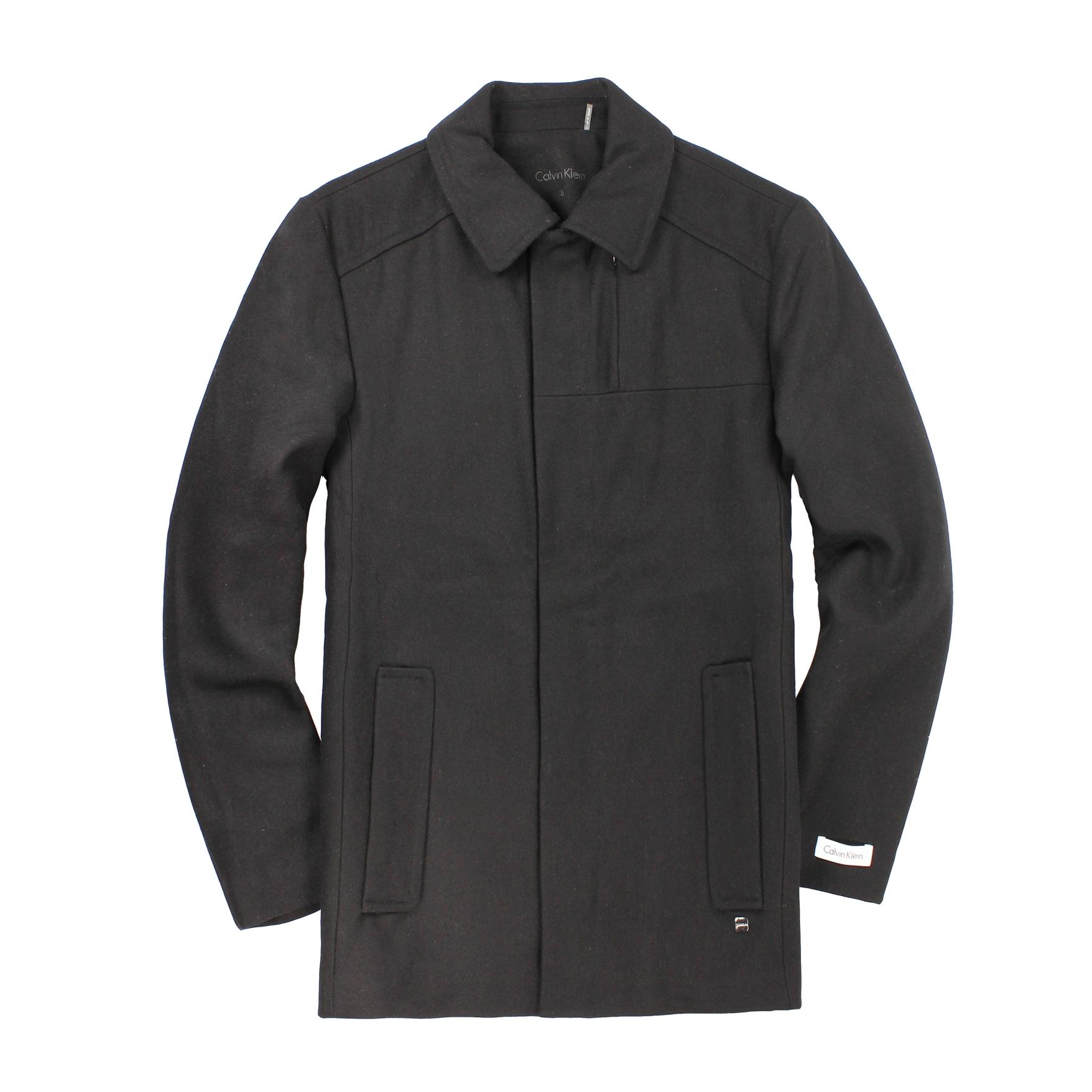 美國百分百【全新真品】Calvin Klein 外套 CK 大衣 毛呢外套 黑色 鋪棉 羊毛 口袋 厚 男款 M號 B910