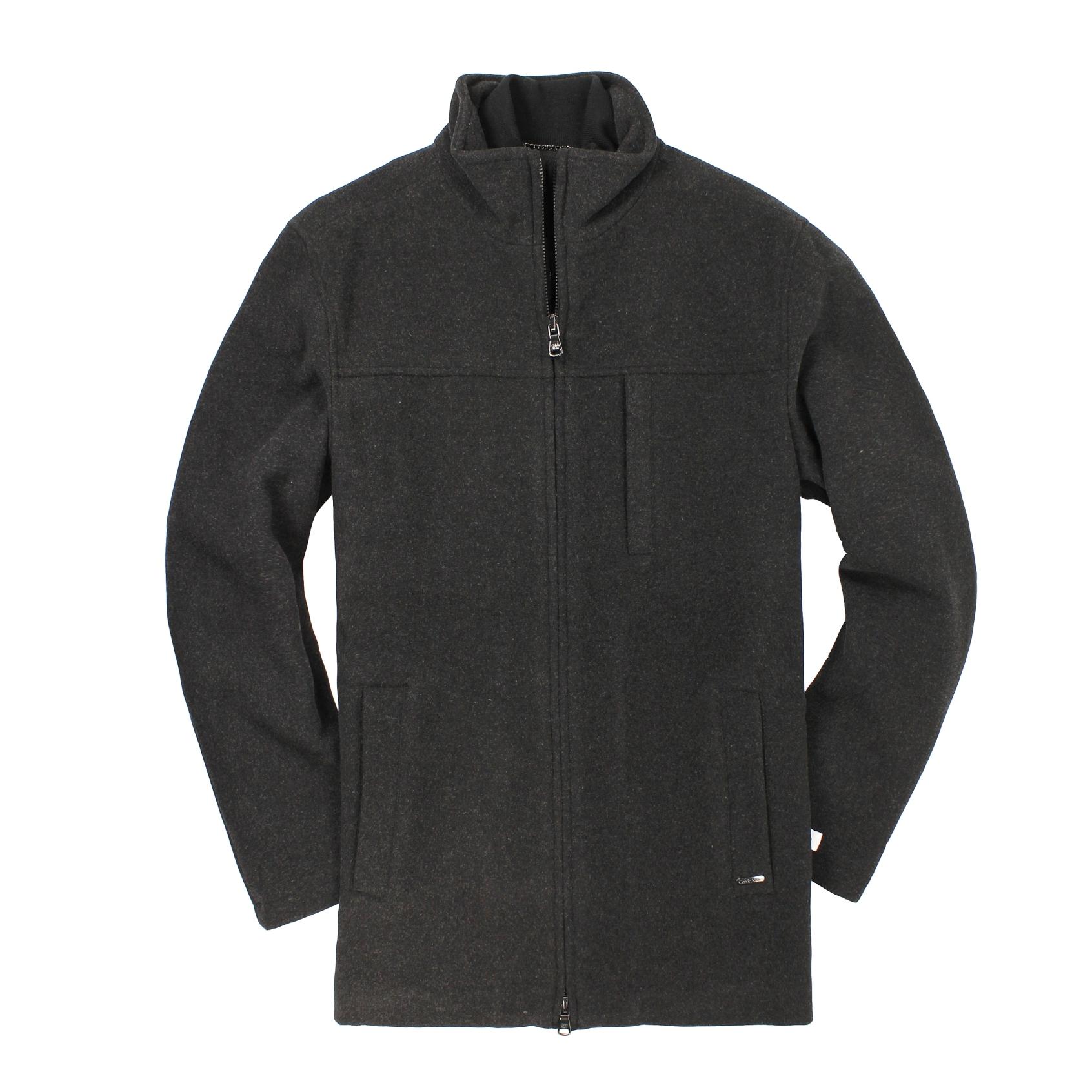 美國百分百【全新真品】Calvin Klein 外套 CK 大衣 毛呢外套 黑 鋪棉 羊毛 厚 雅痞 男 S號 B912