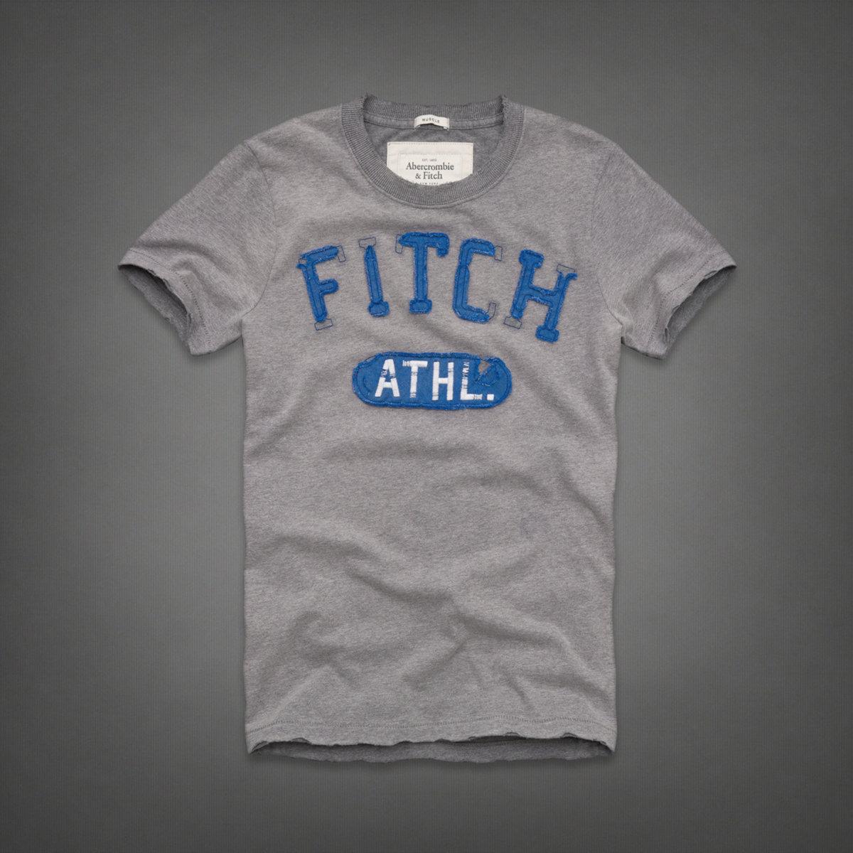 美國百分百【全新真品】Abercrombie & Fitch T恤 AF 短袖 T-shirt 麋鹿 灰 復古 拼布 文字 男 S M號