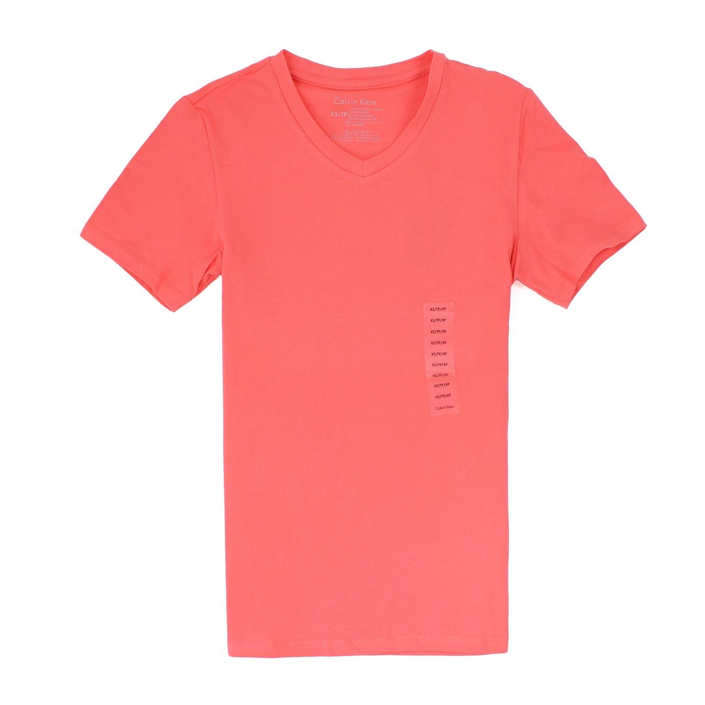 美國百分百【全新真品】Calvin Klein T恤 CK 短袖 上衣 T-shirt 短T 珊瑚紅 素面 V領 彈性 男 XXS M