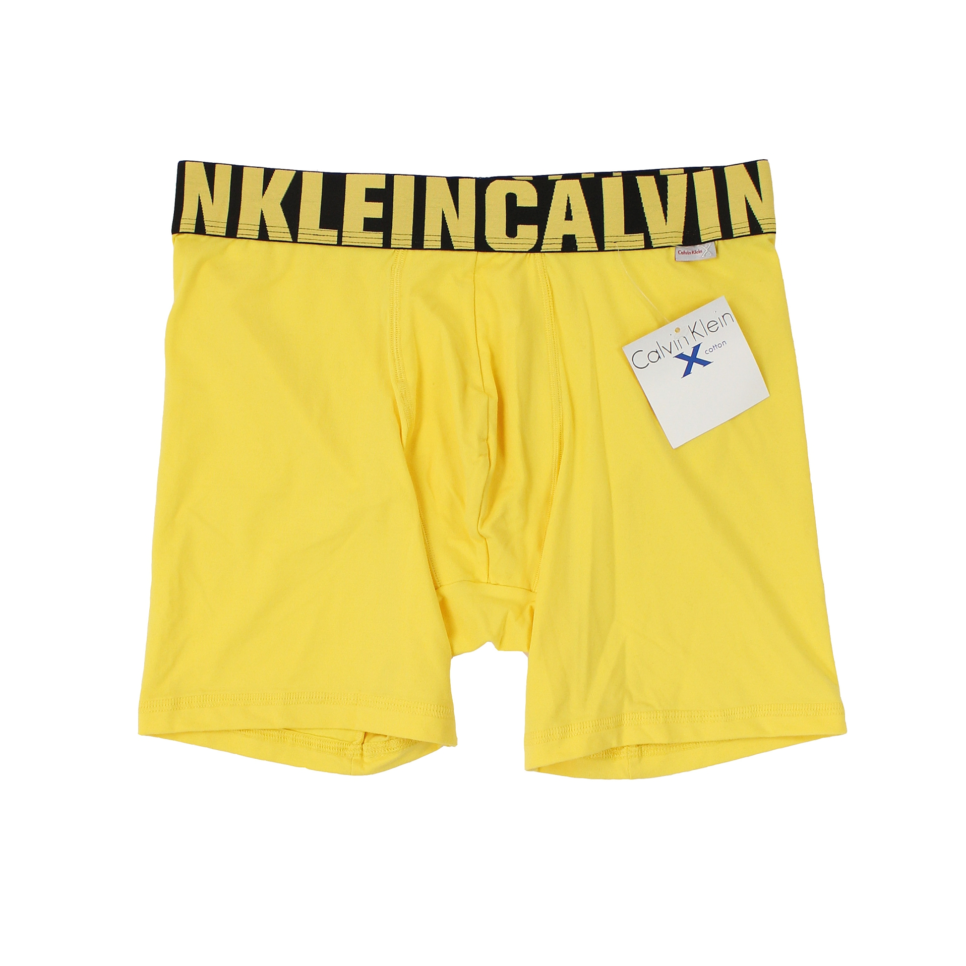 美國百分百【全新真品】Calvin Klein 內褲 CK 四角褲 平口褲 黃 素面 柔軟 彈性 男 M號