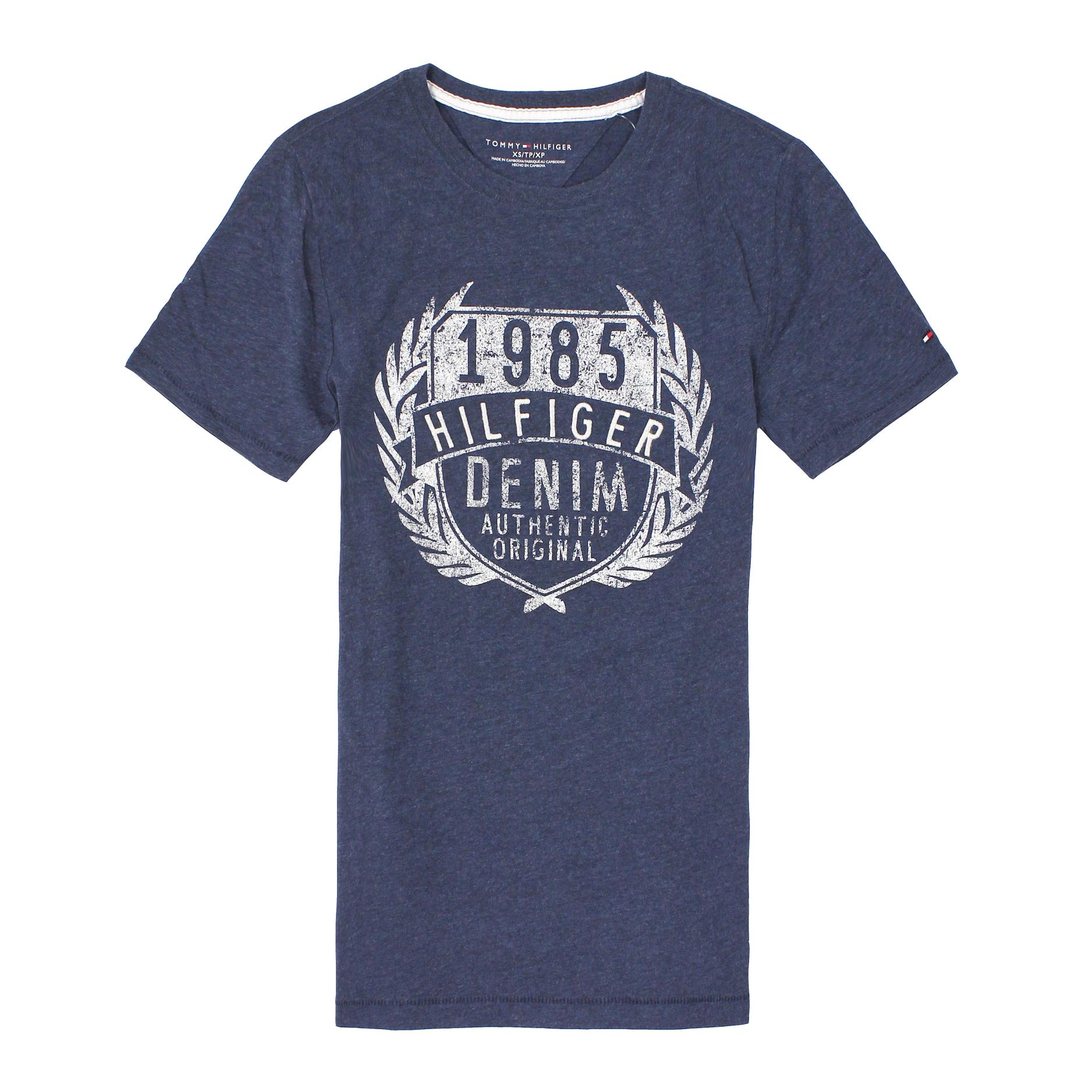 美國百分百【全新真品】Tommy Hilfiger T恤 TH 短袖 T-shirt 上衣 深藍 文字 印刷 桂冠 刺繡 男 XS S
