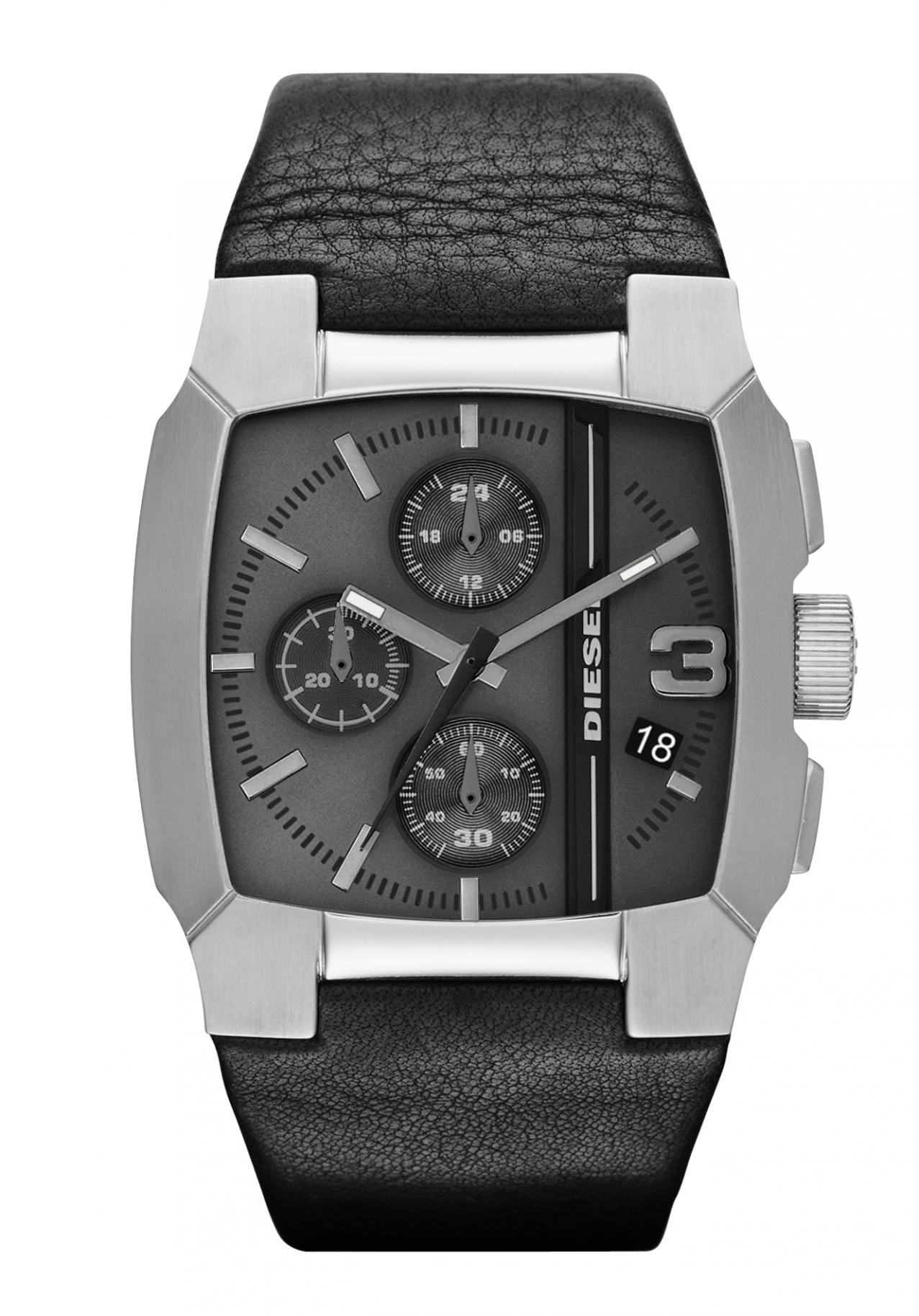 美國百分百【全新真品】Diesel 手錶 配件 腕表 專櫃 真皮 黑 日本機蕊 夜光 三眼 男
