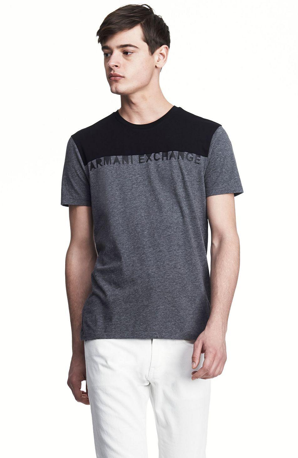 美國百分百【全新真品】Armani Exchange T恤 AX 短袖 上衣 T-shirt 亞曼尼 深灰 黑 Logo 文字 M號 F344
