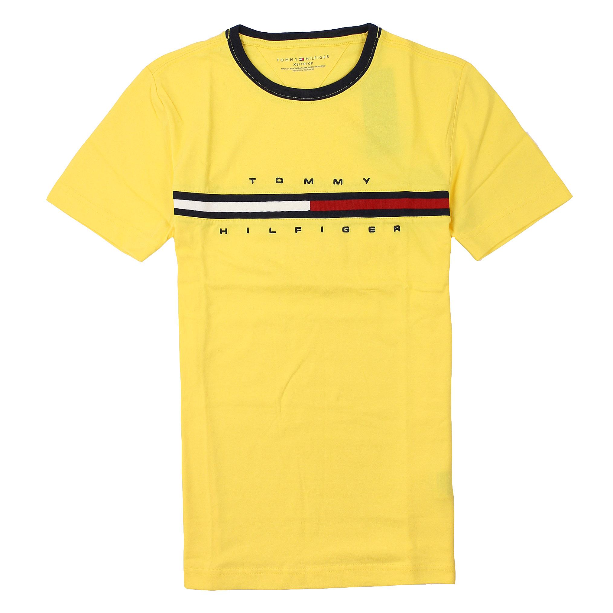 美國百分百【全新真品】Tommy Hilfiger T恤 TH 短袖 T-shirt 上衣 Logo 素面 純棉 黃 男 XS號 A794