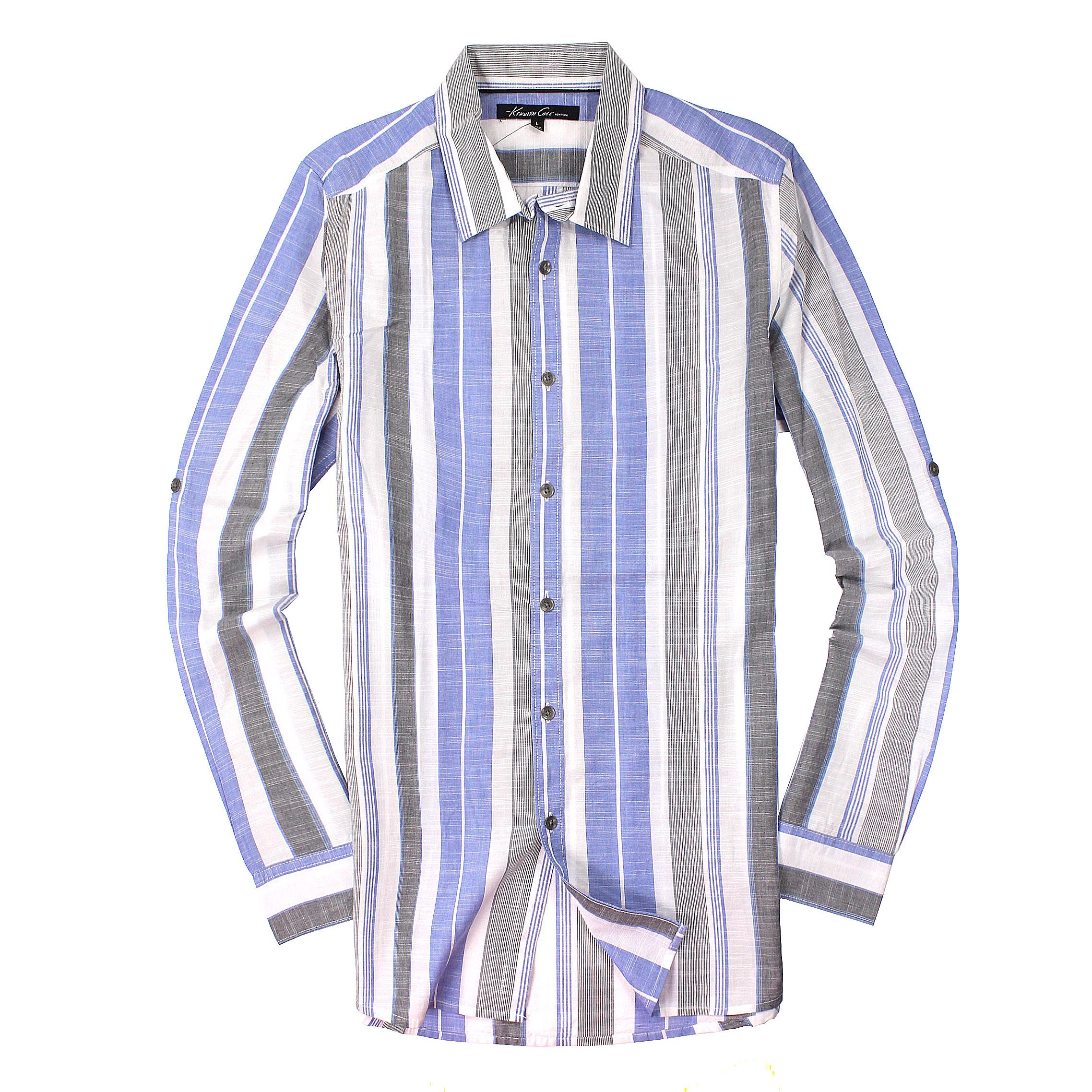 美國百分百【全新真品】Kenneth Cole 襯衫 KC 上衣 長袖 線條 雙口袋 灰 藍 薄紗 純棉 男衣 L號 C552