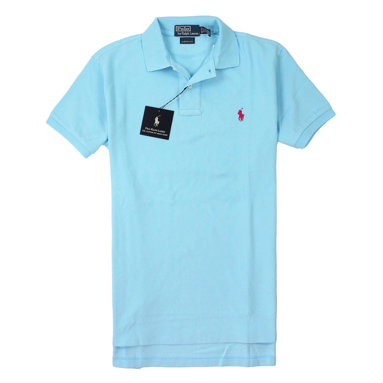 美國百分百【全新真品】Ralph Lauren Polo衫 RL 上衣 短袖 Polo 小馬 亮藍 素面 網眼 男衣 S號 B001