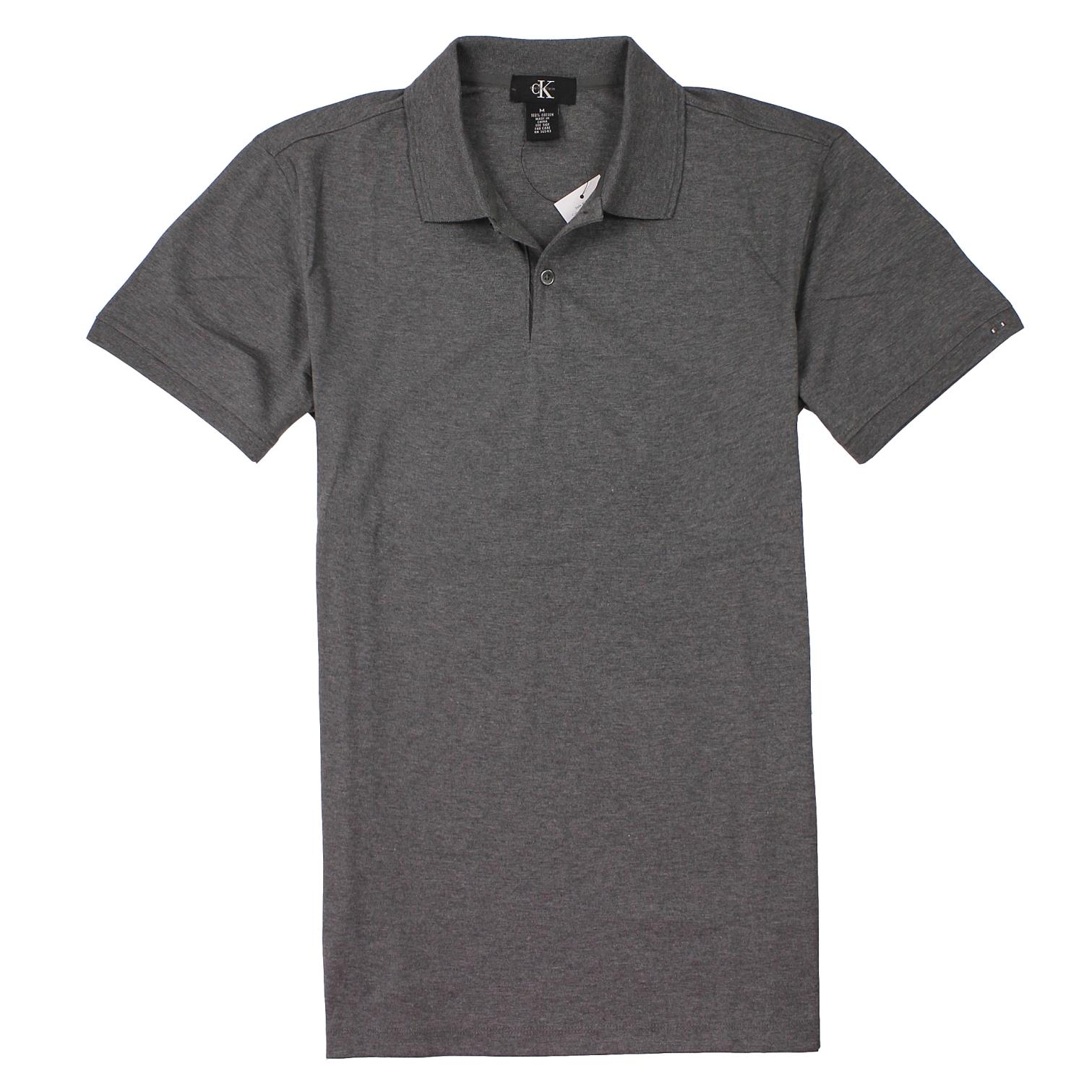 美國百分百【全新真品】Calvin Klein Polo衫 CK 短袖 上衣 棉質 素面 純棉 灰 男衣 M L XL XXL號