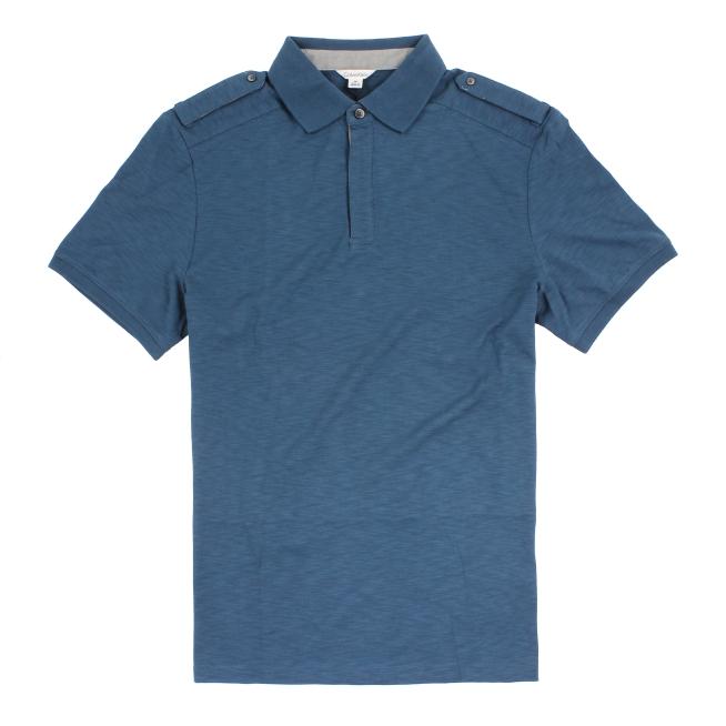 美國百分百【全新真品】Calvin Klein CK 素面 男衣 上衣 短袖 POLO衫 青藍色 M號 C396