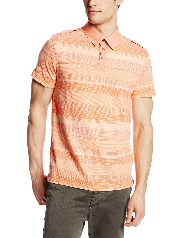 美國百分百【全新真品】Calvin Klein POLO衫 男衣 CK 純棉 短袖 上衣 條紋 橘色 S號 E158
