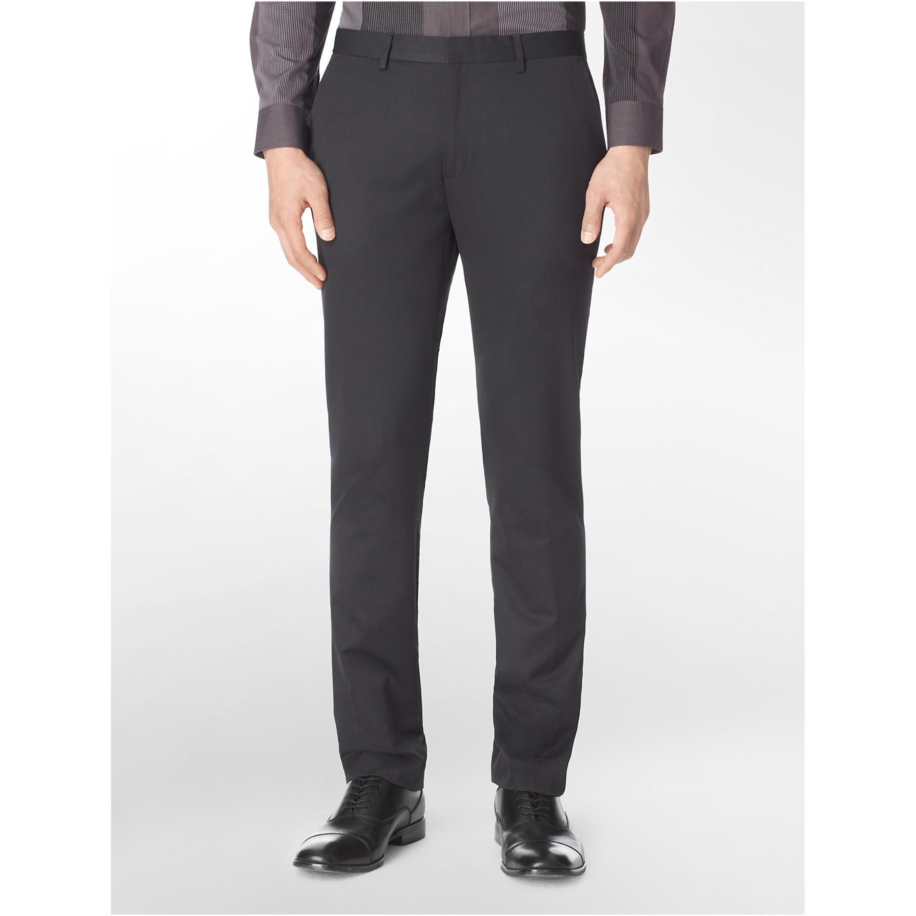 美國百分百【Calvin Klein】長褲 CK 西裝褲 直筒褲 休閒褲 上班 合身 窄版 條紋 黑色 36腰 E315