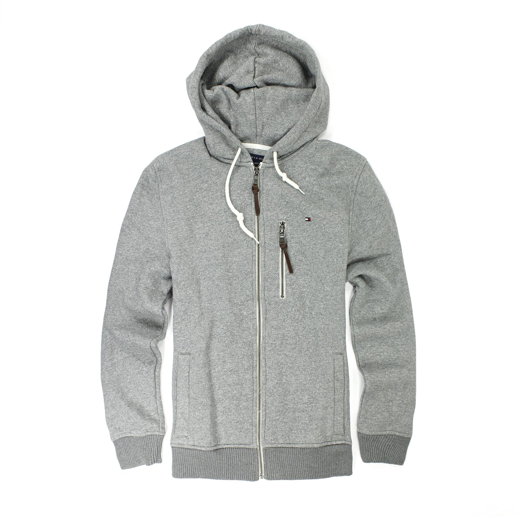 美國百分百【全新真品】Tommy Hilfiger 外套 TH 男 灰色 夾克 連帽 帽T 經典 S M L E354