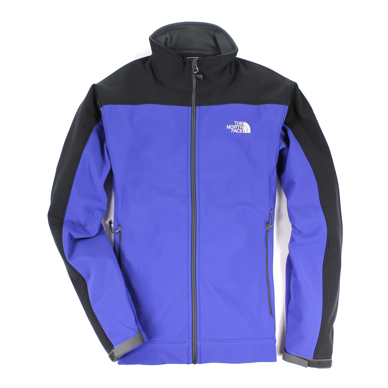 美國百分百【The North Face】男衣 保暖 登山 防風 外套 防水 軟殼 夾克 藍 S M XL號 E405