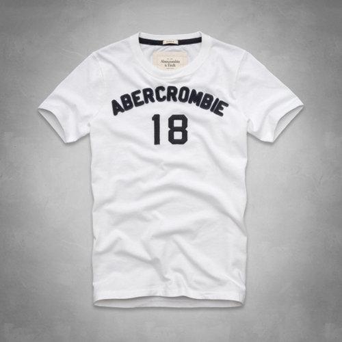 美國百分百【全新真品】Abercrombie & Fitch T恤 AF 短袖 T-shirt 麋鹿 白 圓領 復古 文字 男 S號