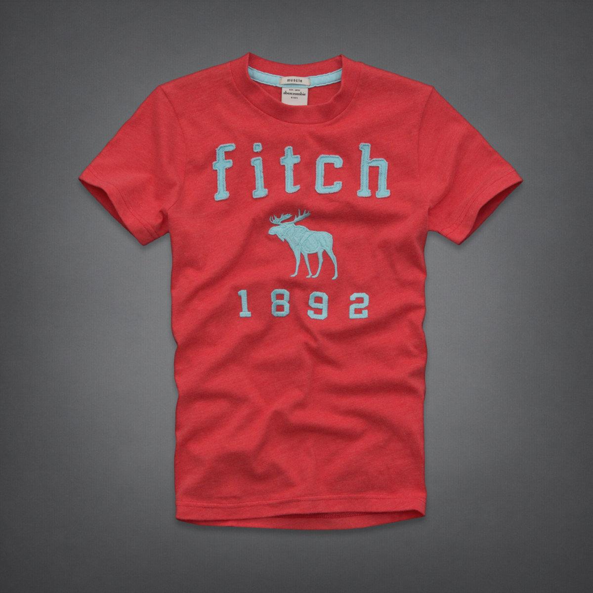 美國百分百【全新真品】Abercrombie & Fitch T恤 AF 短袖 T-shirt 麋鹿 紅 Logo 男 女 Kids XS號