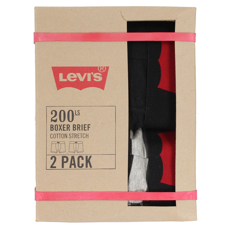 美國百分百【全新真品】Levis 四角褲 CK 內褲 舒適 平口褲 男褲 兩件裝 條紋 黑灰 XL號